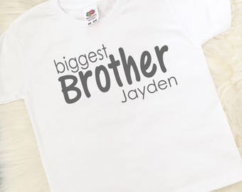 Personalised Biggest Brother T-Shirt, Middle Brother, Sibling Gift, Brother Gift, New Brother, Made in the UK