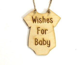 Wishes for baby sign wood baby shower guest book alternative