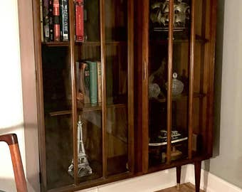 Mid Century Walnut Display Cabinet, Danish Modern Colonnade Top Keller Bookshelf with Arched Glass Doors, Lighted MCM China Cabinet Hutch