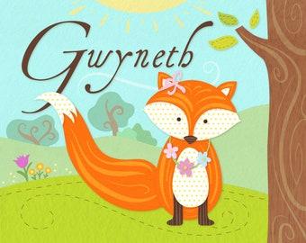 Personalized 8X10 Art Printable, Cute Fox, Kids Name Plaques, Nursery Decor, Fox Nursery, Woodland Nursery, Girl's Wall Art