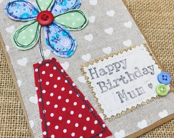 Flower Appliqué Card - Mothers Day, Birthday Card, Decorative Card, Hand Stitched Card - Blank Card - Embroidered Card