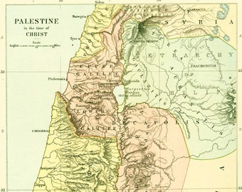 1910 Antique Map of Palestine. Holy Land Map Wall Art. Judaism Historical Map.