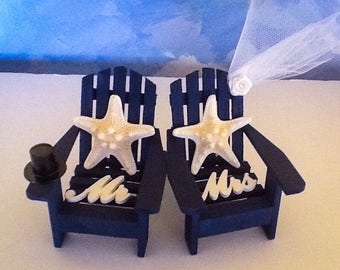 Adirondack Chair Cake Topper , Knobby Star fish  cake topper-Mr & Mrs Cake Topper-beach chair Cake topper-Bride and groom cake topper
