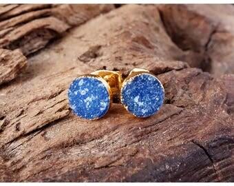 Sparkle Druzy Ear Studs blue gold