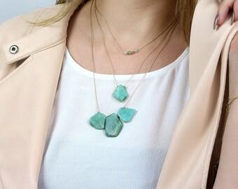 Amazonite necklace,gemstone necklace,gold necklace,large stone pendants,solid gold necklace