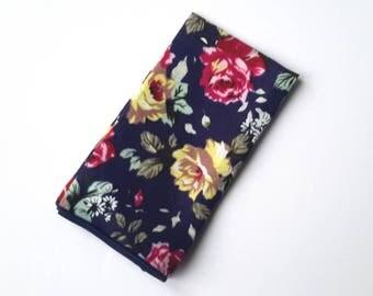 Men's Navy Blue Floral Pocket Square, Wedding Pocket Square, Grooms Pocket Square