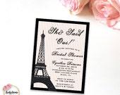 She Said Yes - She Said Oui - Paris Theme Eiffel Tower - Pink and Black - Bridal Shower - Digital Invitation - Printable Invitation