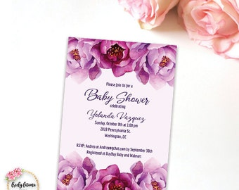 Purple Violet Peony Floral Baby Shower Printable Invitation