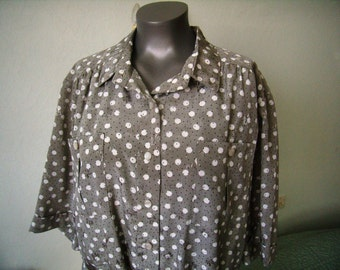 Elegant dress woman, ceremony, spring/summer, grey/beige with white polka dots, size 52/XL french Vintage
