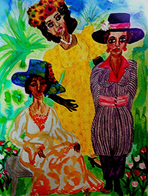 "Original Painting, ""Easter 1918"" Black Art, Black History Month, African American Art by Stacey Torres (matted/framed)"