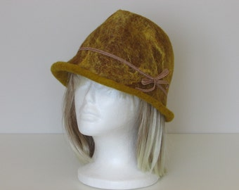 Yellow and brown felted Hat
