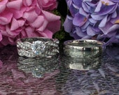 3 piece Wedding Set, Women's Stainless Steel Infinity Pave AAA Grade CZ Wedding Ring Set with 6mm Stainless Steel Men's Band. Free engraving