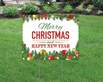 "Merry Christmas and Happy New Year - 16"" x 12"" Yard/Home Sign with Stake - Single Sided"
