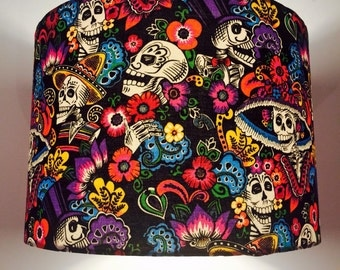 Lampshade - Alexander Henry Day of the Dead - Skeletons Flowers - 30 cm Drum Lampshade - Handmade