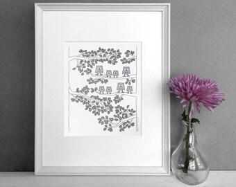 Owl decor | Housewarming gift | Baby shower gift | New parents gift | Cute owls illustration | Nursery decor | Owl nursery art
