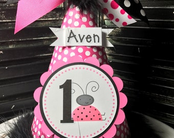 Ladybug Party Hat - Cake Smash Hat - Personalized Hat - Ladybug Party - Pink and Black - First Birthday Hat - 1st Birthday