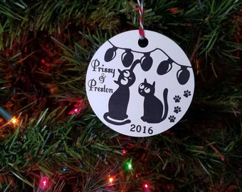Cat Christmas Ornament cat ornament custom ornament pet ornament pet christmas ornament cat playing with christmas lights cat paw prints