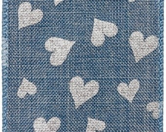"2.5"" x 10yds Linen w/ Printed Silver Hearts Wired Edge Ribbon/Wreath Supplies/Valentines Day Ribbon/Valentines Day Decor/ds09-1241"