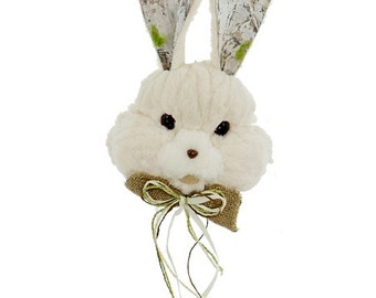 "14"" Cream Furry Bunny Head w/ Faux Bark Ears & Burlap Bow Tie/Wreath Supplies/Easter Bunny Head/Easter Decor/R20116"