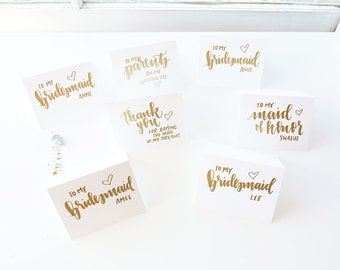 calligraphy gift cards for bridal party // handwritten bridesmaid thank you cards // wedding day cards // gift for him gift for her