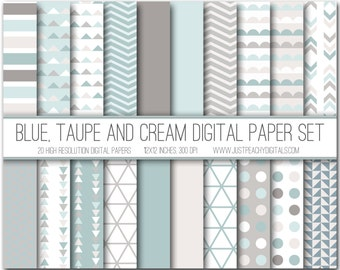 blue, taupe and cream modern digital scrapbook paper with geometric patterns
