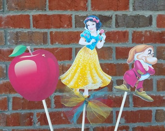 Set of 3 Disney Princess Snow White Themed Centerpiece Picks or Cake Toppers