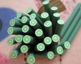 5 lemon green batter 5cm Fimo canes