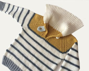 Hand Knit Baby Sweater / Pullover in Dark Yellow, Off White and Grey Stripes, Very Soft Merino Wool, Sweater for Child of 12-18 months
