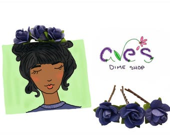 Blue Rose Bobby Pins by Ave's Dime Shop