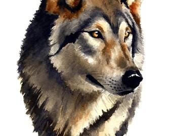 Wolf Portrait - Original Watercolor Painting by Artist DJ Rogers