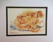 Watercolor Ginger Cat, Original painting
