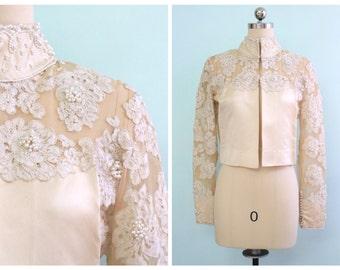 Vintage 1950's Satin and Lace Bridal Jacket | Size Medium