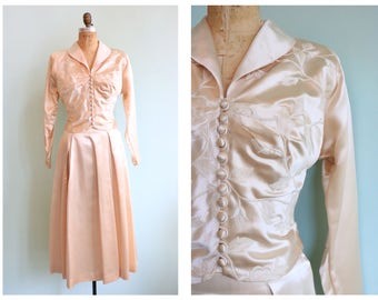 Vintage 1950s Ivory Satin Embroidered Wedding Suit | Size Small