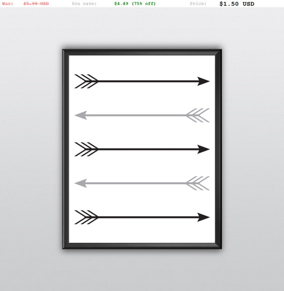 75% off Arrow Print Wall Print Black And White Arrow Silhouette Wall Prints Download Printable Arrow Downloads Tribal Arrow Art (T149)
