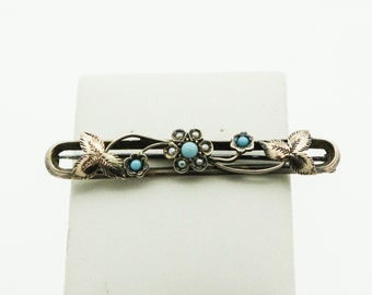A Delicate Victorian Turquoise And Seed Pearl Brooch   SKU946