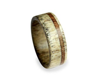 Antler Ring With Oak Wood Inlay, Wooden Ring with Deer Antler Inner, Deer Antler Ring, Mens Ring, Natural Ring, Mens Band, Off-Center Stripe