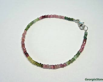 Handmade Faceted Multi-colour Tourmaline Bracelet, with Sterling Silver 925