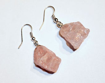 Rough Rose Quartz Earrings w/ Silver Plated Earwire (ER33BT)