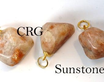 Tumbled SUNSTONE Pendant with Gold Bail (TU13DG)