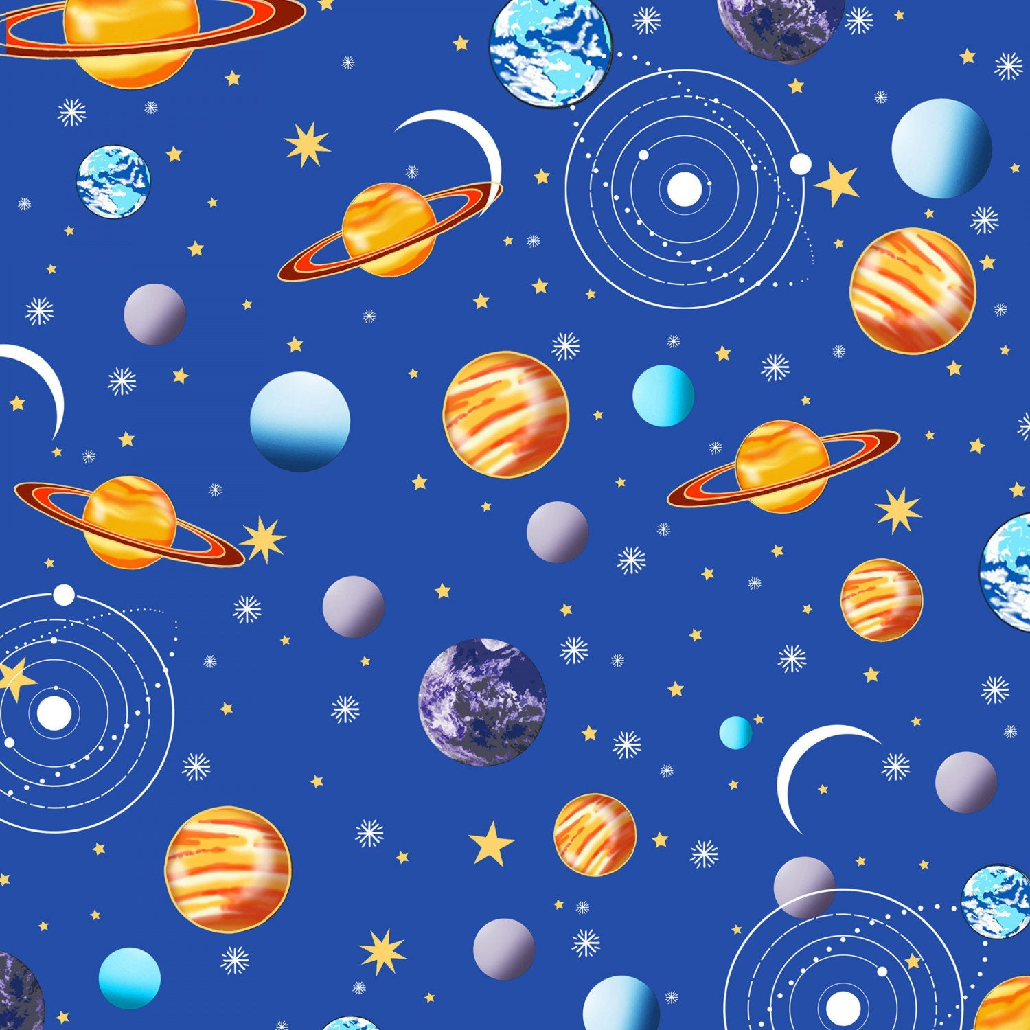 Blue planets outer space galaxy fabric metallic henry for Space fabric