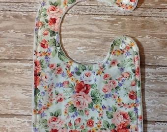 Baby bib- Floral Baby bib, Personalized Baby Bib, Baby Girl Bib, Girl Baby Bib, Multi-colored floral Bib