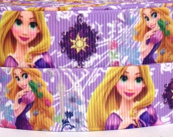 "Tangled 7/8"" Grosgrain Ribbon -Tangled Ribbon - 3 yards Tangled Grosgrain Ribbon - Disney Tangled Ribbon - Rapunzel Ribbon - Disney Rapunzel"