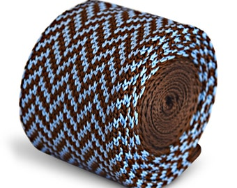 chocolate brown and light blue herringbone knitted skinny tie by Frederick Thomas FT3294
