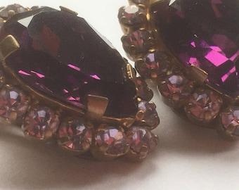 Vintage Simulated Amethyst And Clear Glass Rhinestones Earrings/Diamante Earrings/Crystal Earrings/1960s/Signed Made In Austria