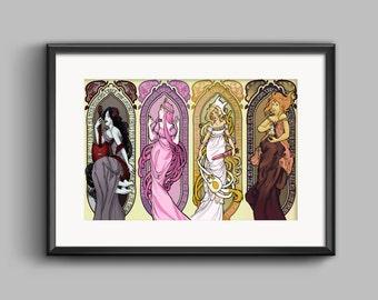 Adventure Time Art Nouveau Print Marceline the Vampire Queen Fionna the Human Princess Bubblegum Flame Princess