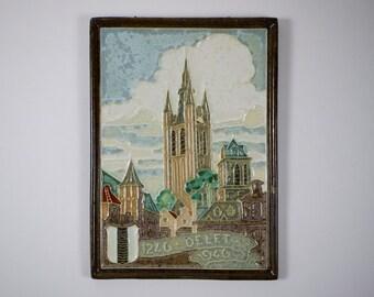 Vintage Delft Porceleyne de Fles cloisonné Delft 1246- 1946 tile plaque