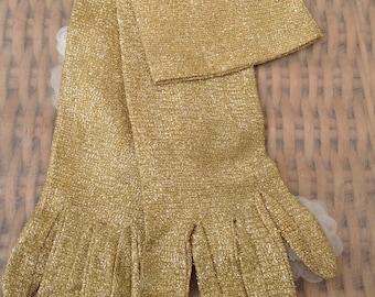 1950's  Original Gold Lurex Ladies Evening Gloves