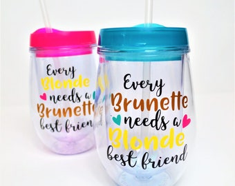 Best Friend Wine Glass // Best Friend Gift Set // Best Friend Wine Tumblers // Blonde best friend // Blonde and Brunette // Best Friend Gift