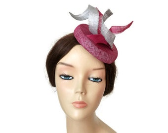 Pink and silver fascinator, pink wedding hats, silver races hat, cerise pink fascinators for weddings, silver grey hats,Wedding guest outfit