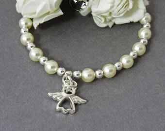 Sterling Silver Angel  Pearl Charm Bracelet, Angel Bracelet, Swarovski Pearl Beaded Charm Bracelet, Little Girl Bracelet, Stacking Bracelet